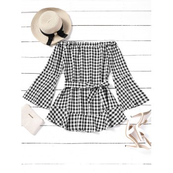 Plaid Off Shoulder Belted Mini Dress - CHECKED CHECKED