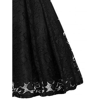 Retro Lace Party Pin Up Dress - BLACK 2XL