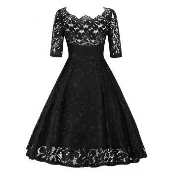 Retro Lace Party Pin Up Dress - BLACK S