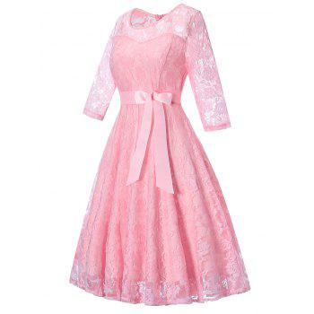 Lace Vintage Overlay Dress - PINK M
