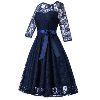 Lace Vintage Overlay Dress - DEEP BLUE XL