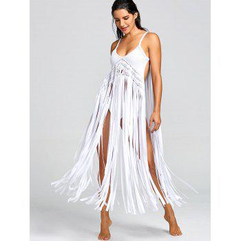 Fringe Crochet Knit Cover-up with G-string - WHITE ONE SIZE