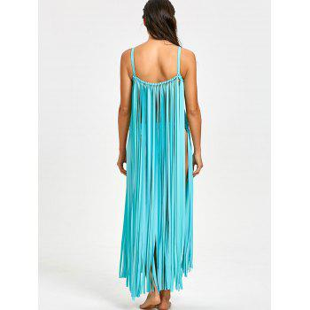 Fringe Crochet Knit Cover-up with G-string - LAKE BLUE LAKE BLUE