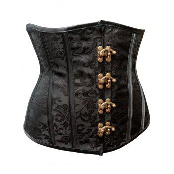 Strapless Steel Boned Waist Cincher Corset - BLACK 2XL
