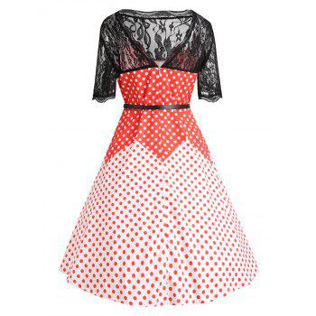 Lace Insert Plus Size Color Block Polka Dot Vintage Dress - RED 2XL
