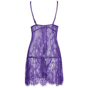 Lace Sheer Slip Lingerie Babydoll - PURPLE L