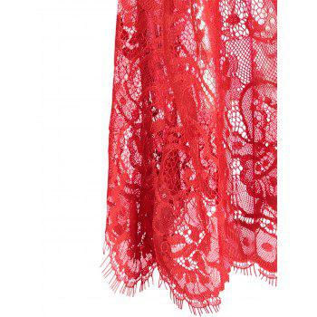 Lace Sheer Slip Lingerie Babydoll - RED XL