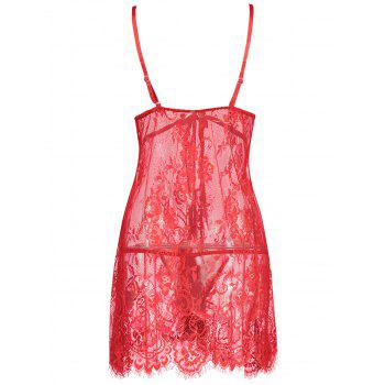 Lace Sheer Slip Lingerie Babydoll - RED S