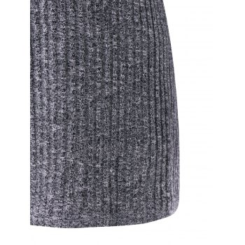 Wide Flat Collar Plus Size Ribbed Sweater - GRAY 4XL