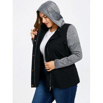 Plus Size Drawstring Hooded Jacket - GRAY 2XL