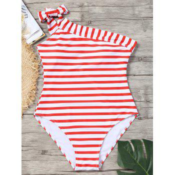 396b1960dc 17% OFF  2019 One Piece Striped Skew Collar Swimsuit In RED WHITE S ...