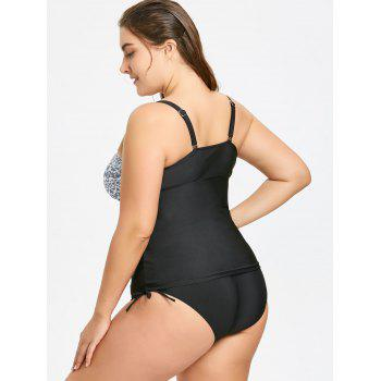 Plus Size Tiny Floral Blouson Tankini Bathing Suit - BLACK BLACK
