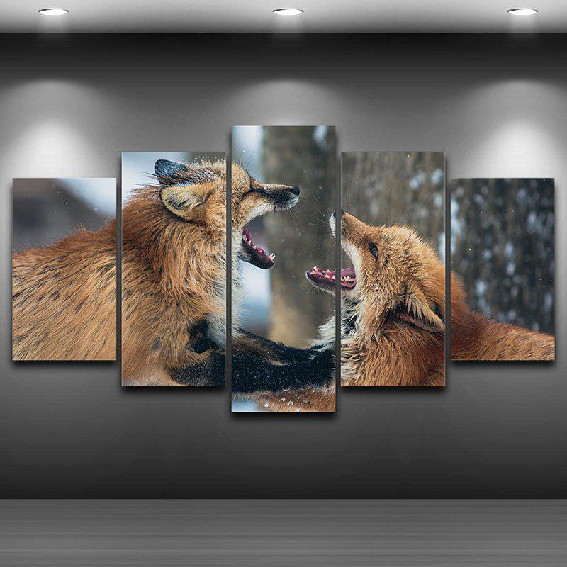 Wall Art Decor Fighting Foxes Pattern Unframed Canvas Paintings wall art wolf pattern unframed canvas paintings