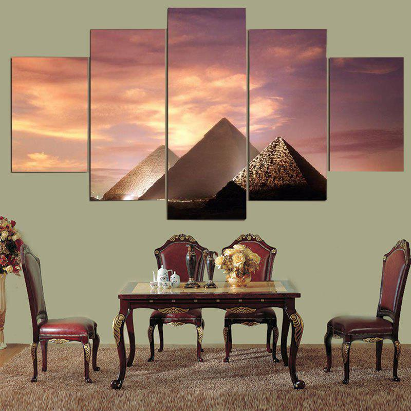 Artistic Sunset Pyramid Print Wall Decor Unframed Canvas Paintings seaside sunset sandbeach printed split unframed canvas paintings