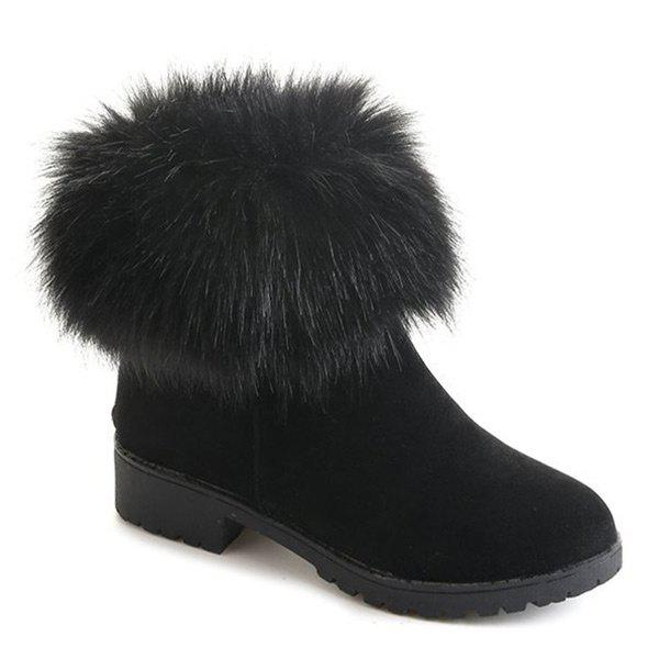 Low Heel Fuzzy Short Boots - BLACK 35