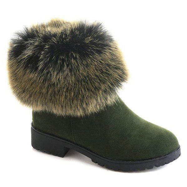 Low Heel Fuzzy Short Boots - GREEN 38