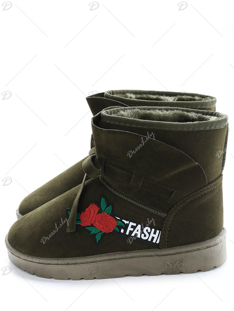 Bow Tie Floral Embroidered Ankle Boots - ARMY GREEN 37