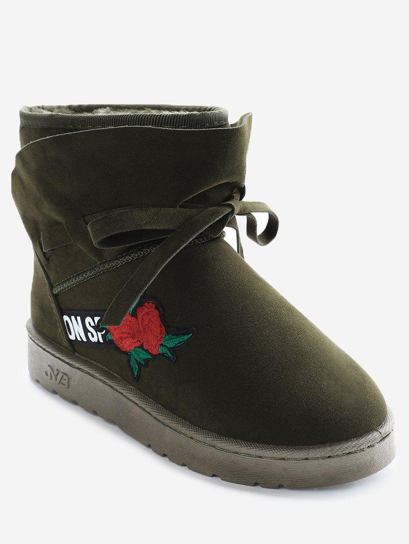 Bow Tie Floral Embroidered Ankle Boots - ARMY GREEN 38