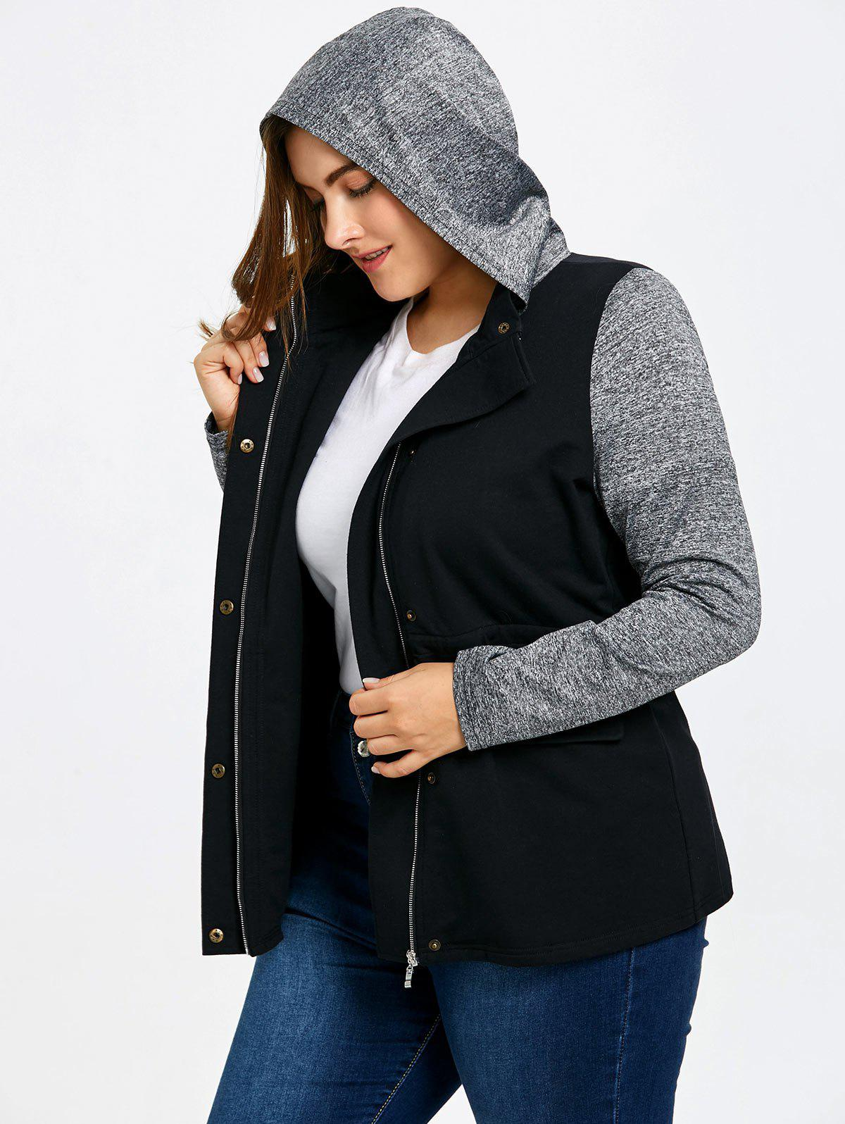 Plus Size Drawstring Hooded Jacket - GRAY 3XL