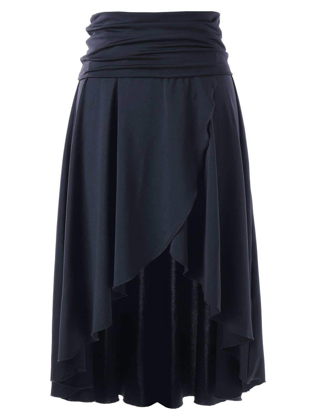 Multi-wear Asymmetrical High Low Skirt - BLACK XL