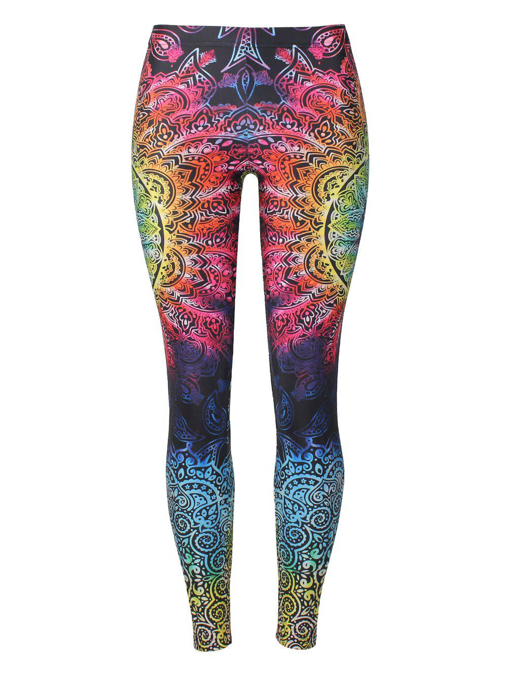 Skinny Print Bohemian Leggings - COLORMIX XL