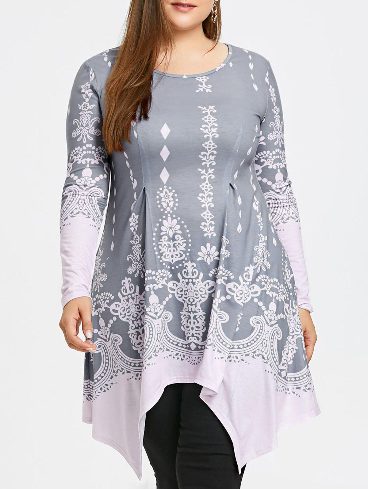 Plus Size Print Tunic Asymmetric Top plus size print tunic asymmetric top