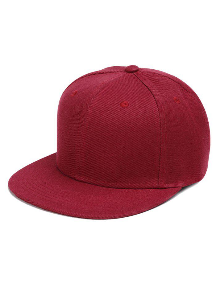Outdoor Line Embroidered Flat Brim Graphic Hat - WINE RED