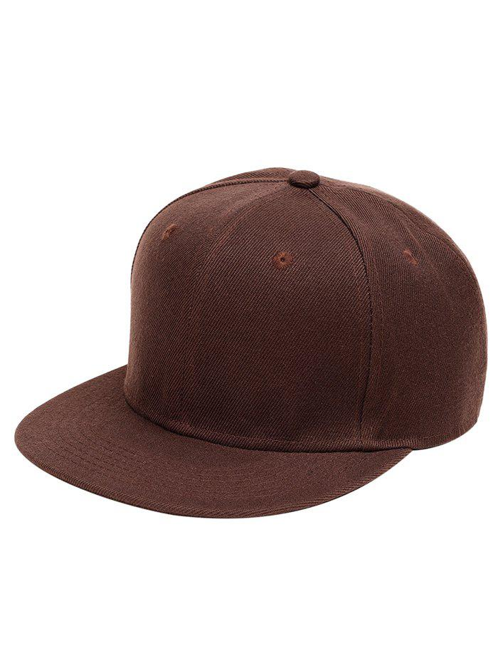 Outdoor Line Embroidered Flat Brim Graphic Hat - BROWN