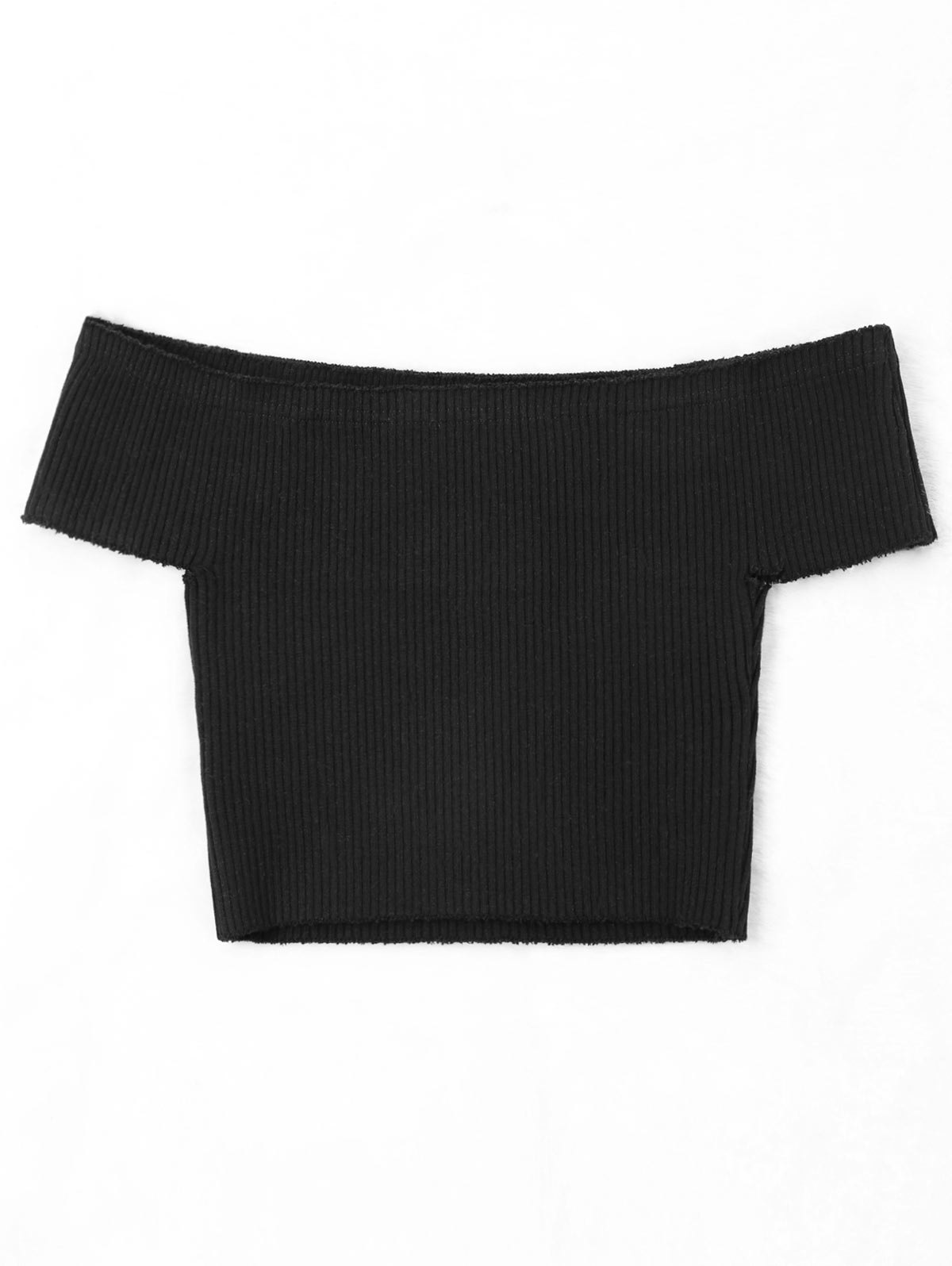 Off The Shoulder Plain Cropped Knitwear - BLACK ONE SIZE