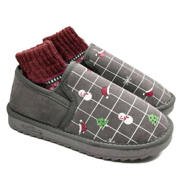 Trees Snowman Hats Print Snow Boots - GRAY 38