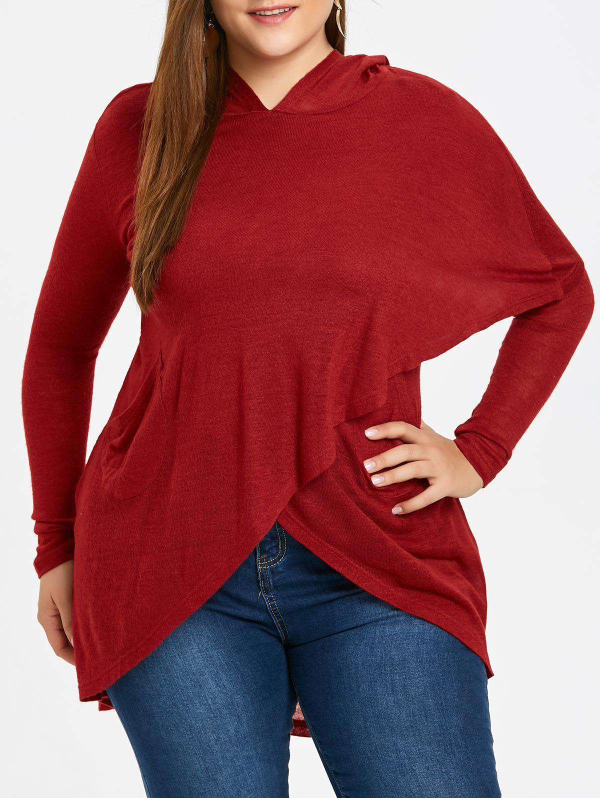 Asymmetric Hem Plus Size Wrap Hoodie - WINE RED 5XL