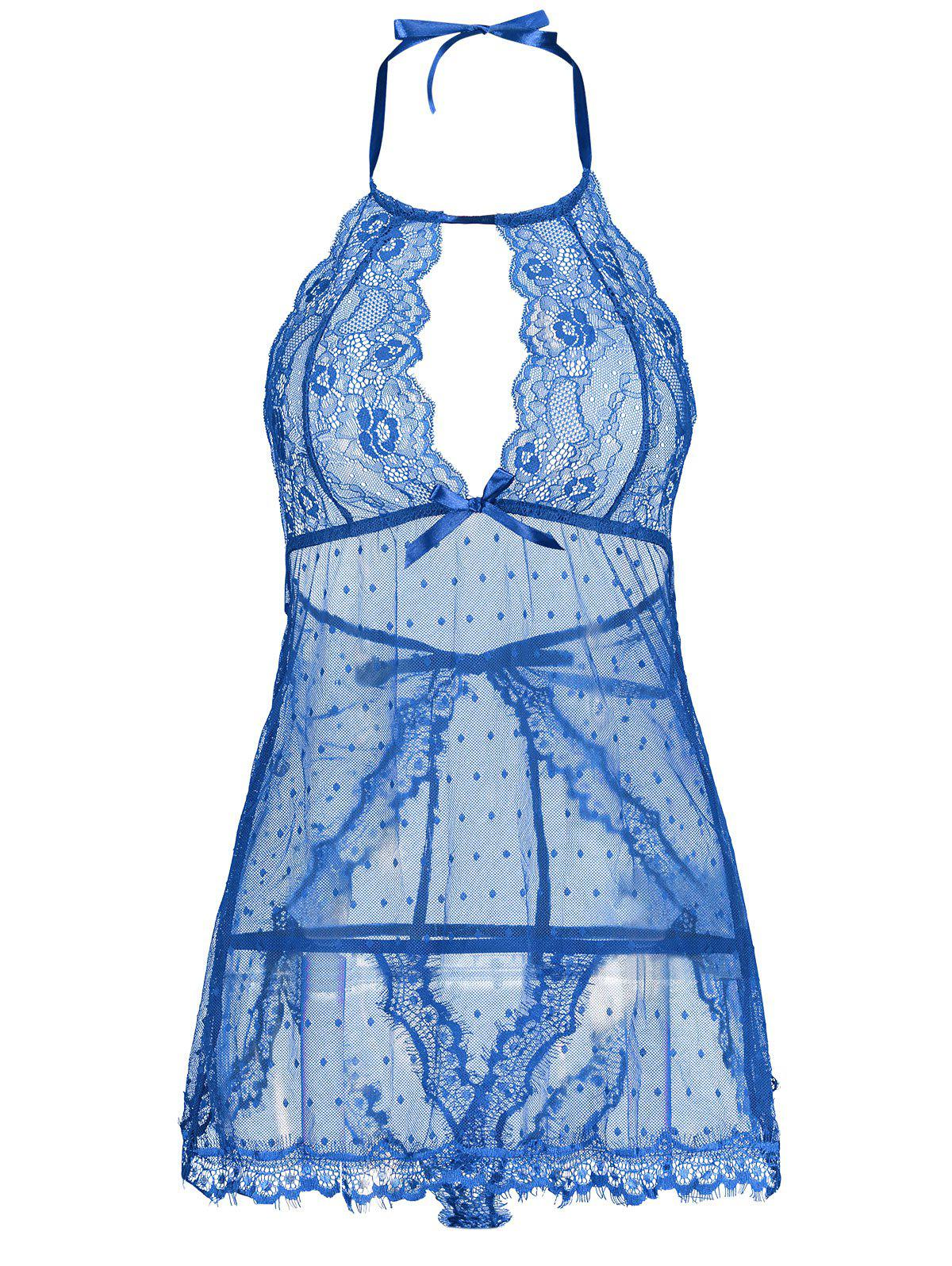 Lingerie Lace Back Split Sheer Dress - BLUE 2XL