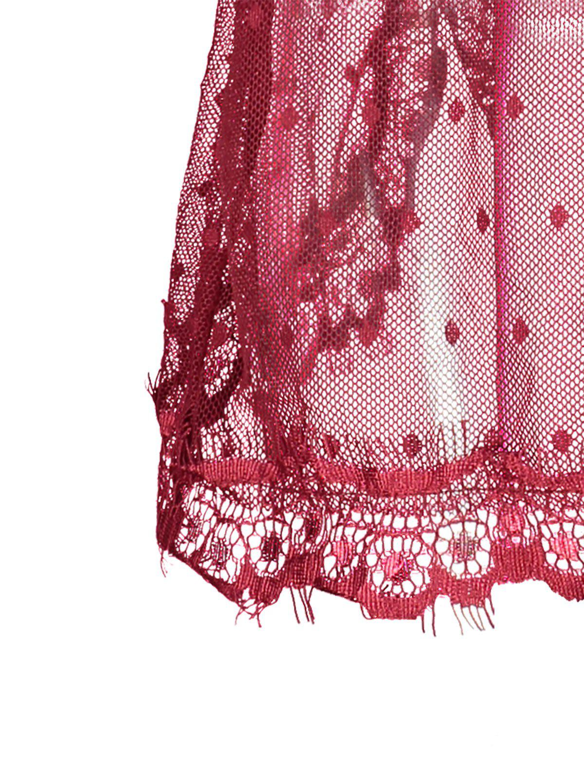Robe Lingerie en Dentelle Transparente à Dos Fendu - Rouge vineux 2XL
