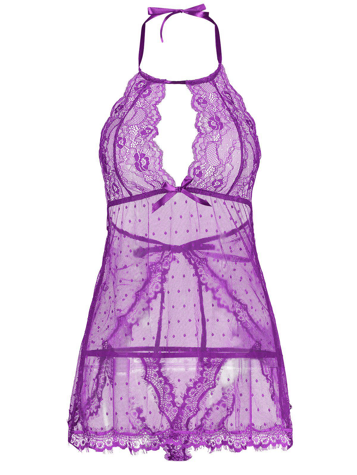 Lingerie Lace Back Split Sheer Dress - PURPLE M