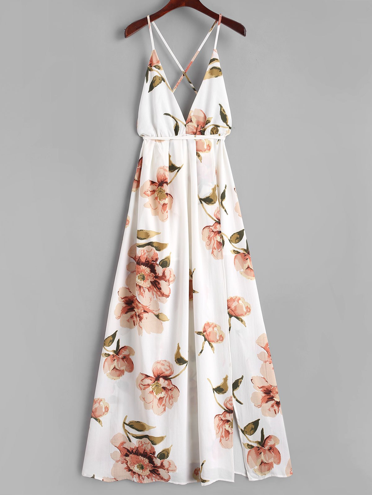 2018 Criss Cross Slit Floral Maxi Dress White S In Maxi