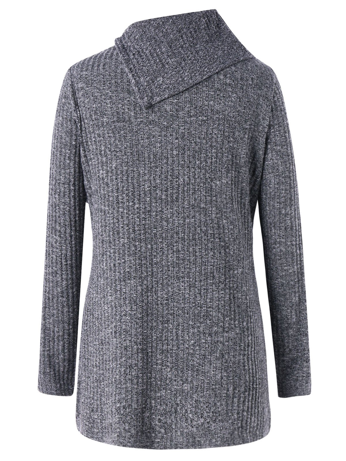 Wide Flat Collar Plus Size Ribbed Sweater - GRAY 2XL