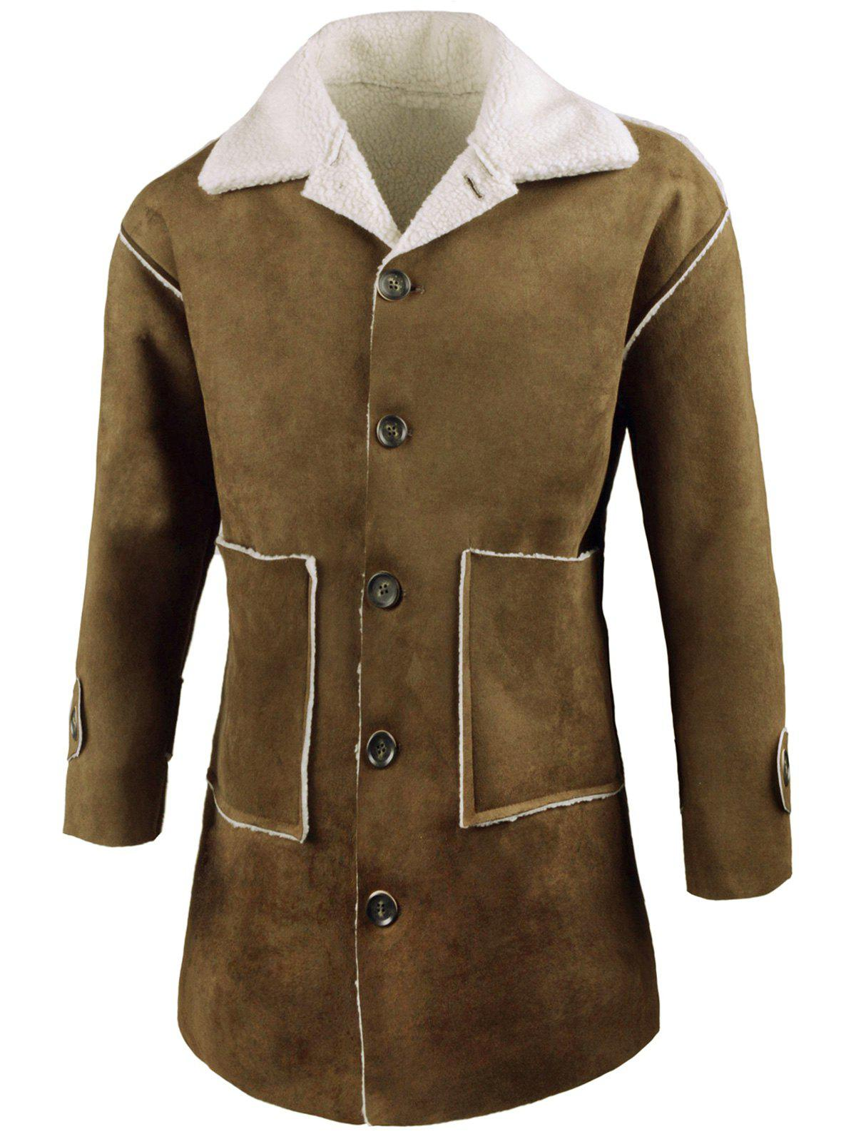 Single Breasted Front Pockets Faux Sheepskin Coat, ARMY GREEN, M ...