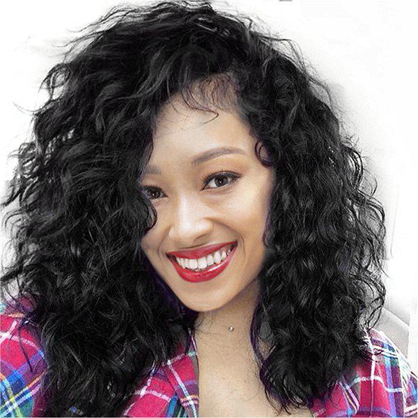 Long Side Parting Fluffy Water Wave Synthetic Lace Front Wig - BLACK