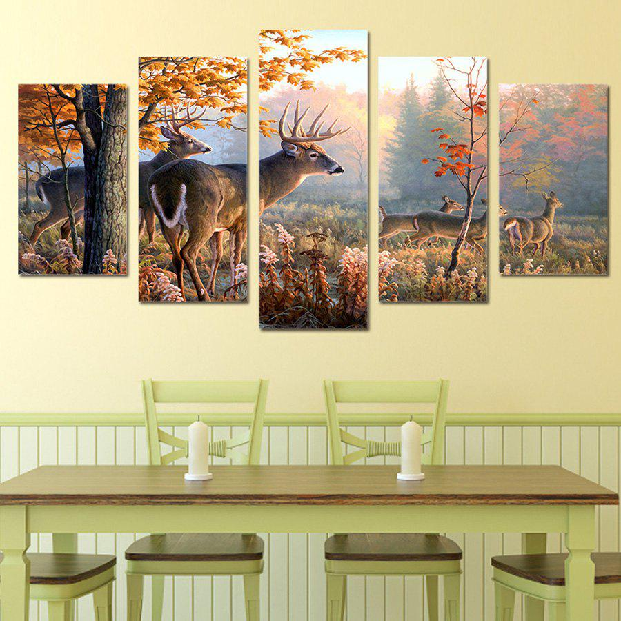 2018 Deer Running In the Forest Canvas Paintings COLORFUL PC: , PCS ...