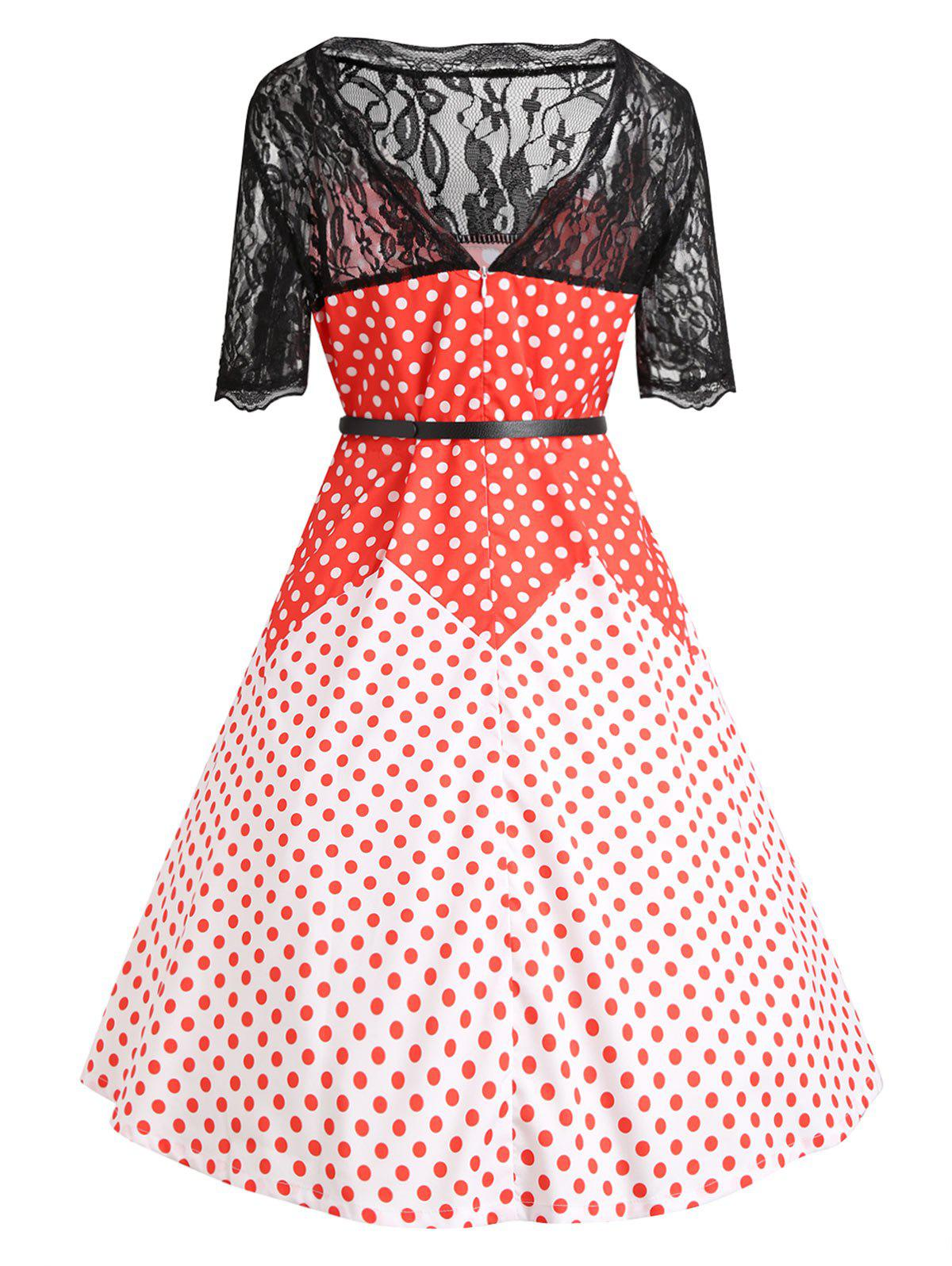 Lace Insert Plus Size Color Block Polka Dot Vintage Dress - RED 5XL
