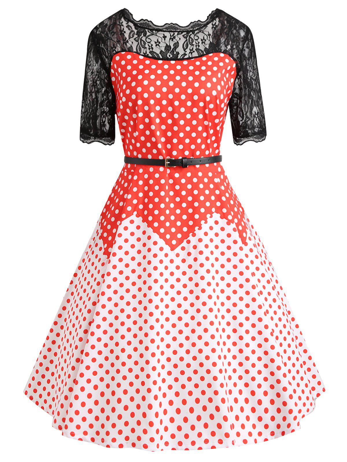 Lace Insert Plus Size Color Block Polka Dot Vintage Dress - RED XL