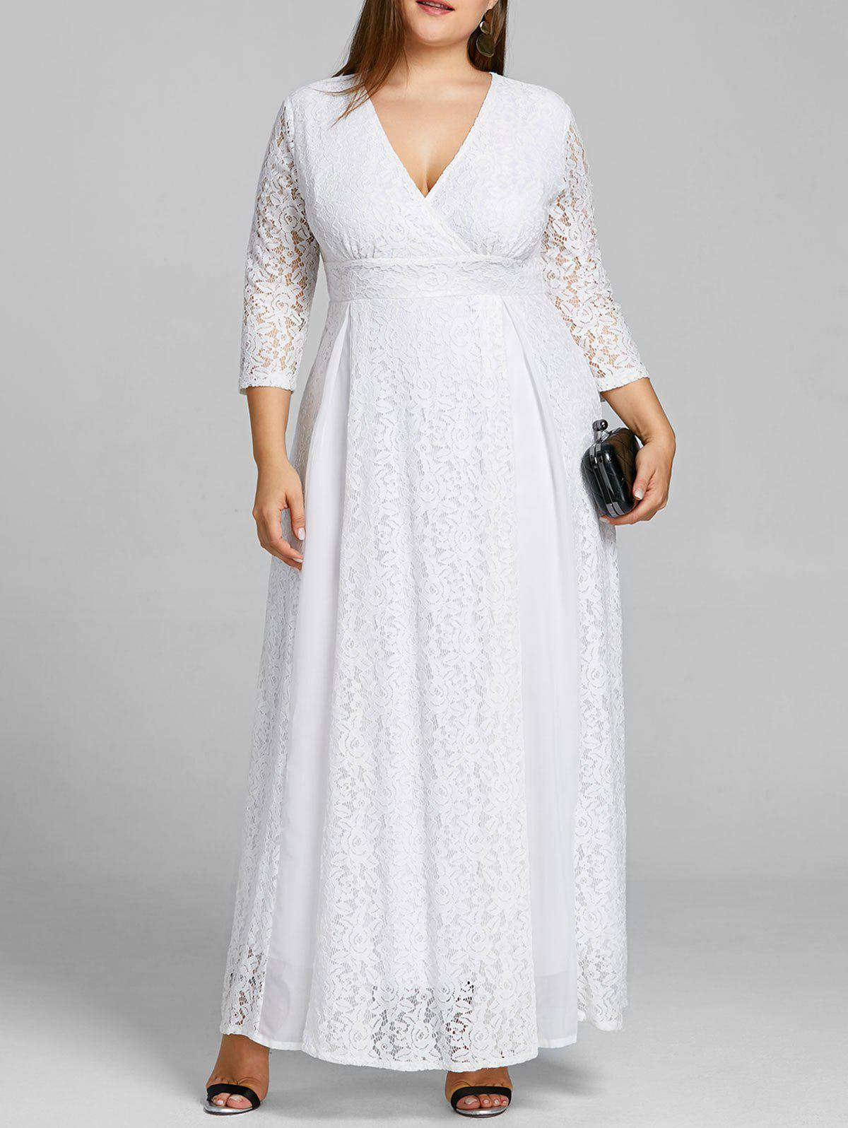 Empire Waist Plus Size Lace Surplice Dress шины 215 45 r13