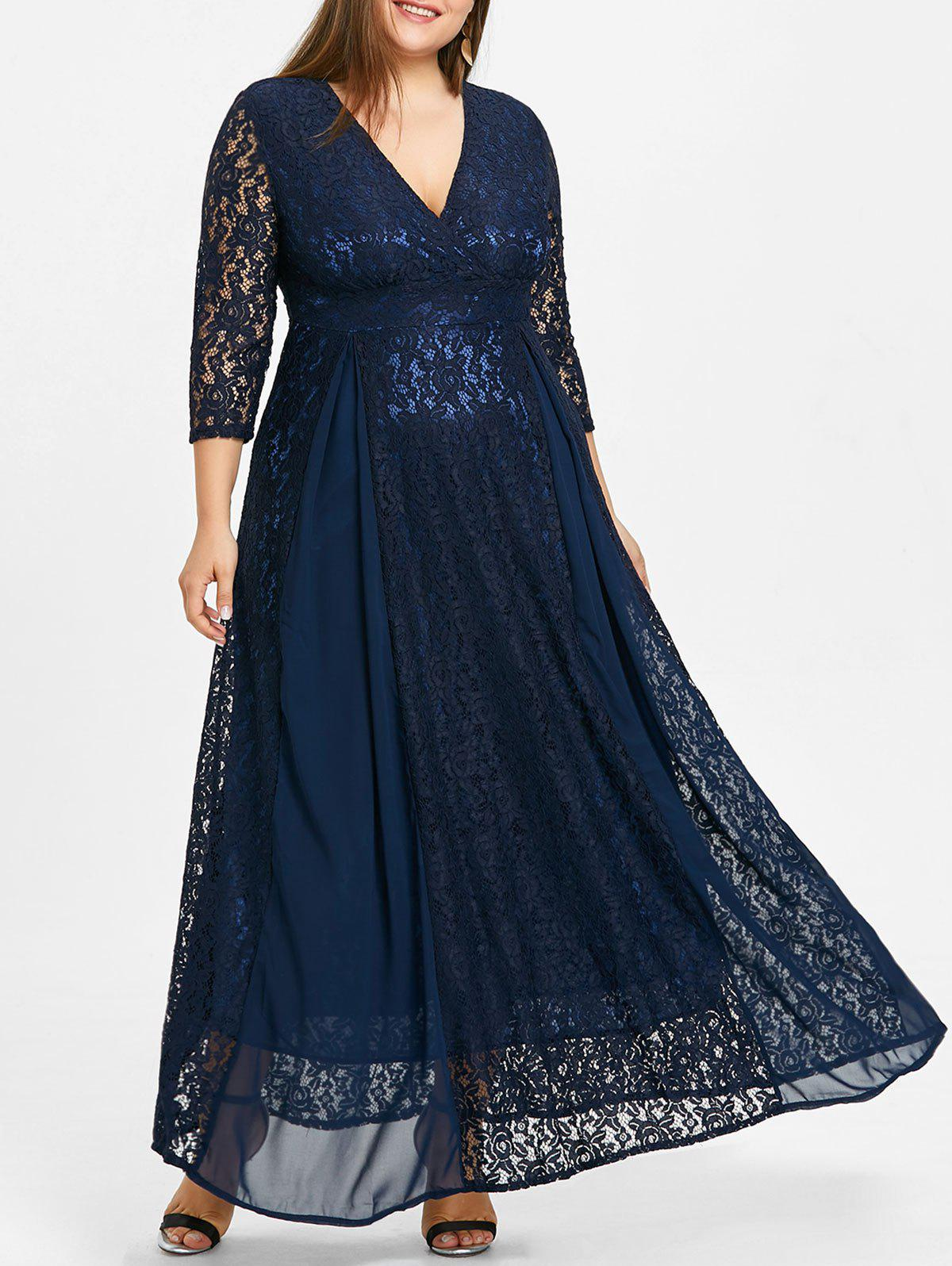 Empire Waist Plus Size Lace Surplice Dress каталог empire