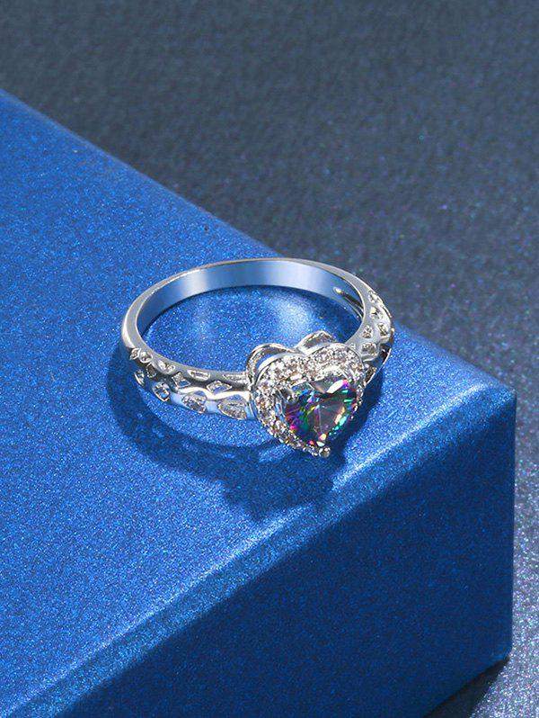 Fake Diamond Hollow Out Heart Ring - SILVER 8