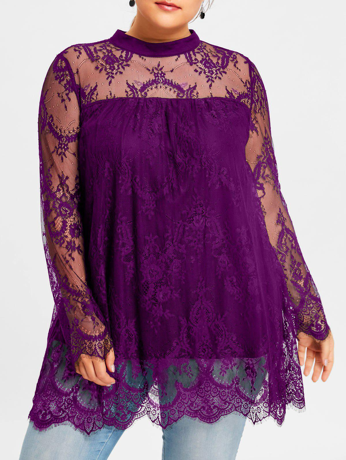 Plus Size Lace Sheer Scalloped Edge Blouse plus size printed sheer lace blouse with cami top