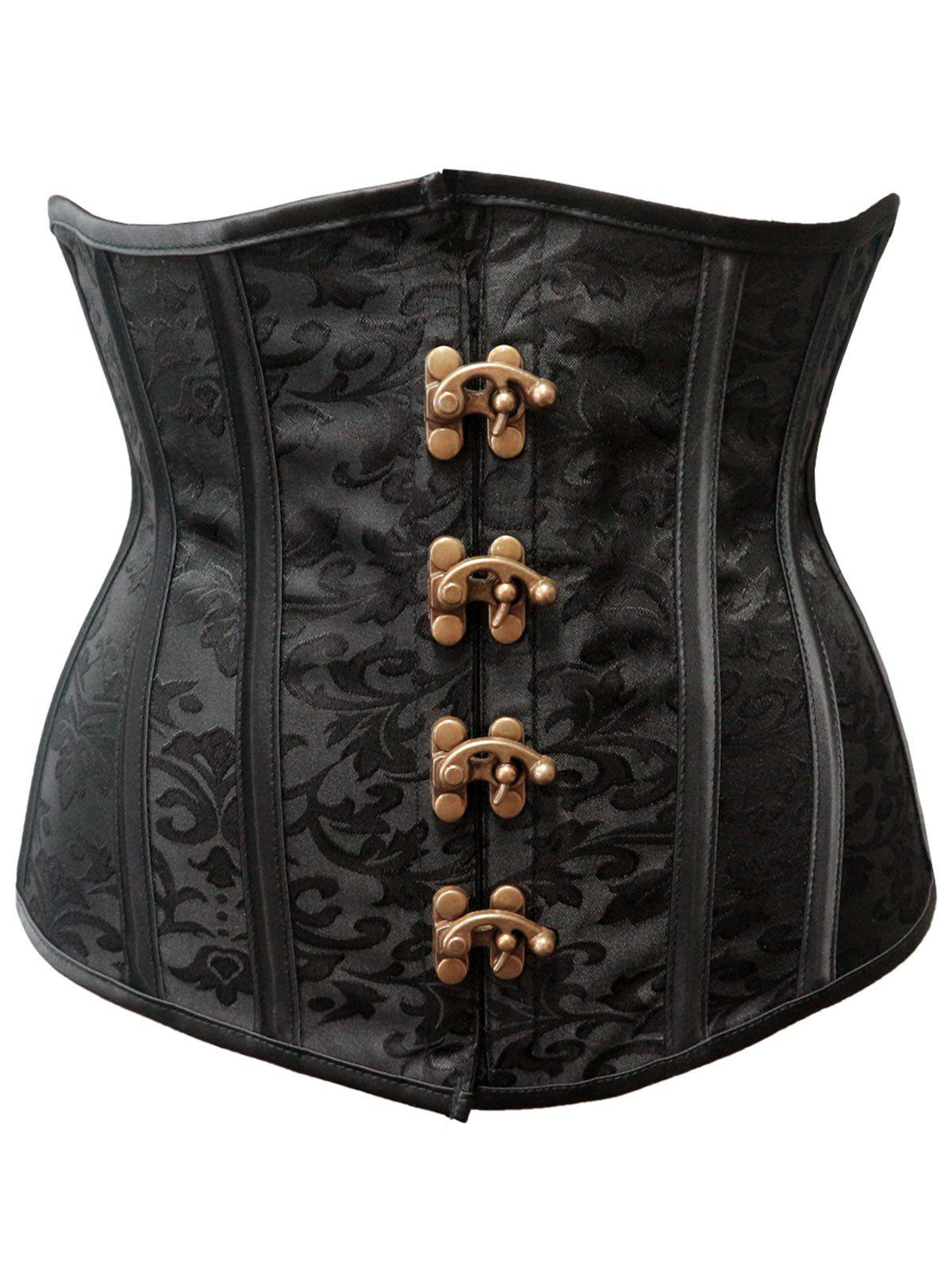 Strapless Steel Boned Waist Cincher Corset - BLACK S