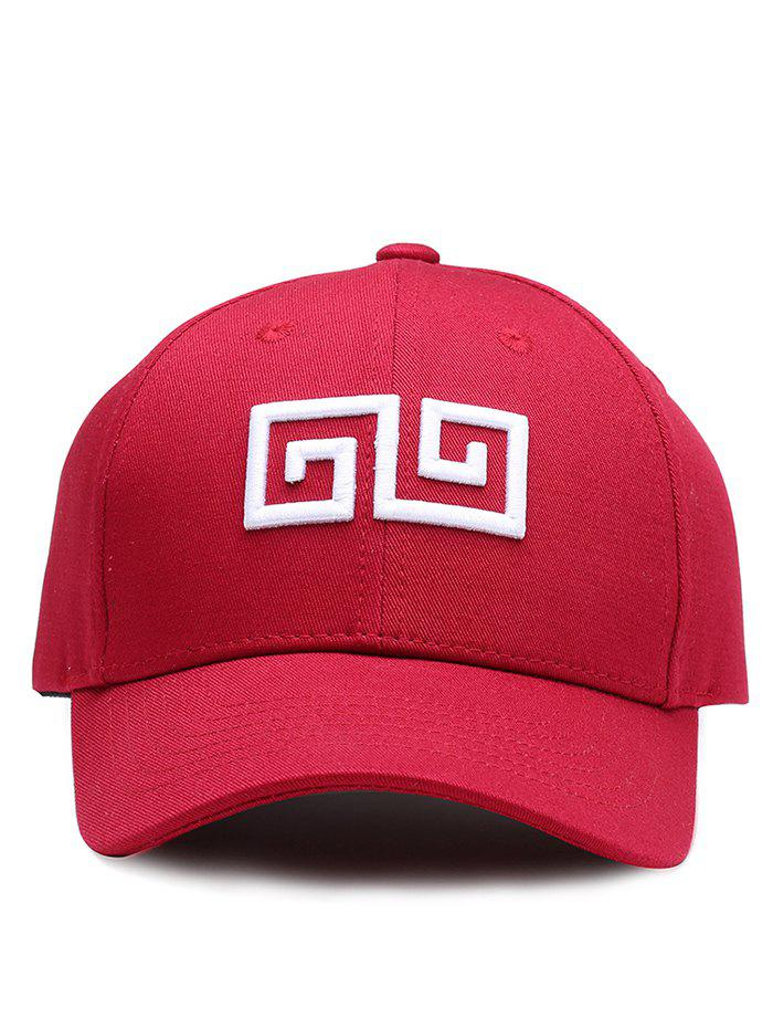 Outdoor Geometric Pattern Embroidery Graphic Hat - WINE RED