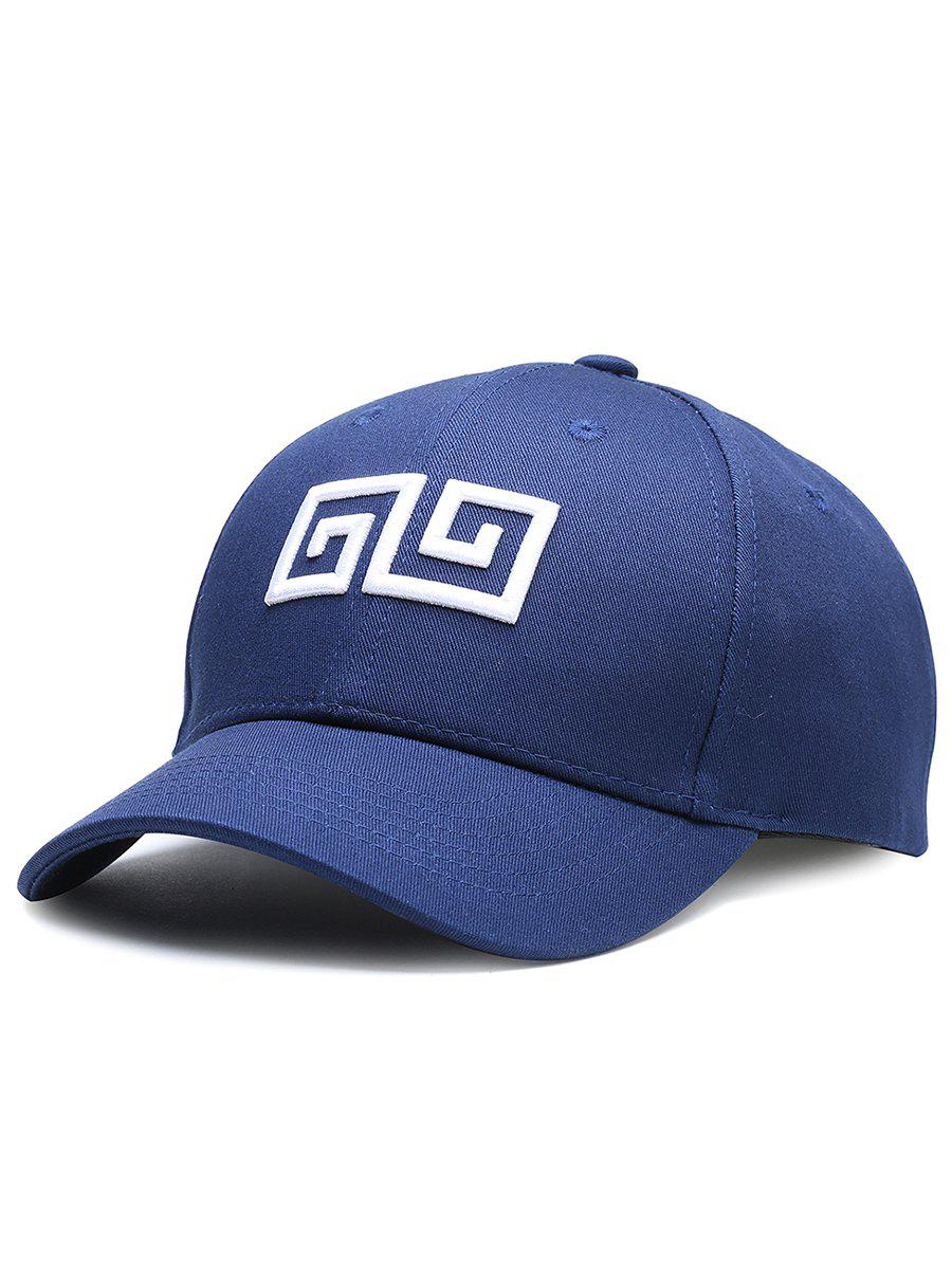 Outdoor Geometric Pattern Embroidery Graphic Hat - CERULEAN