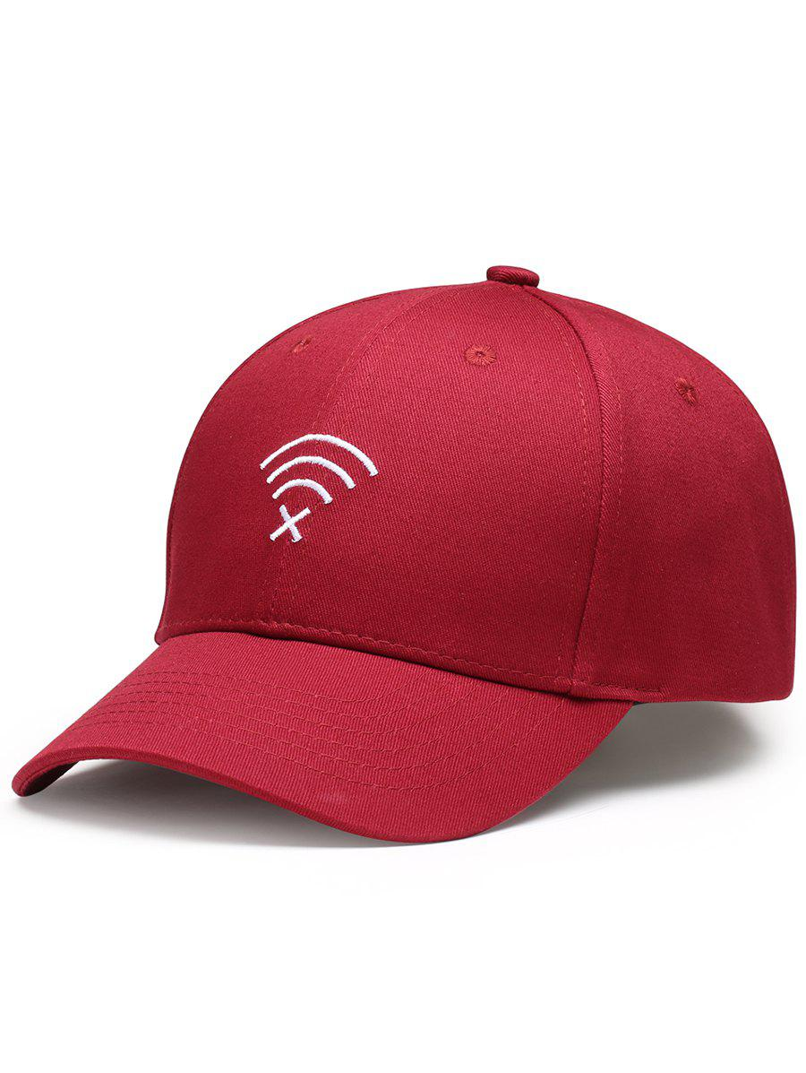 Funny WIFI No Signal Decoration Baseball Cap - WINE RED