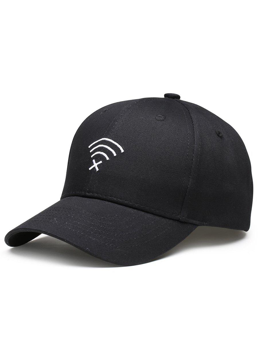 Funny WIFI No Signal Decoration Baseball Hat - BLACK